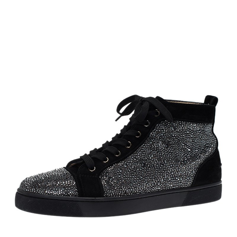 a1537c321a98 ... Christian Louboutin Black Strass Suede Louis High Top Sneakers Size 43.  nextprev. prevnext