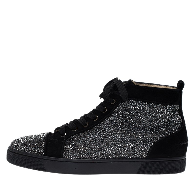 new concept 5d441 0cfd7 Christian Louboutin Black Strass Suede Louis High Top Sneakers Size 43