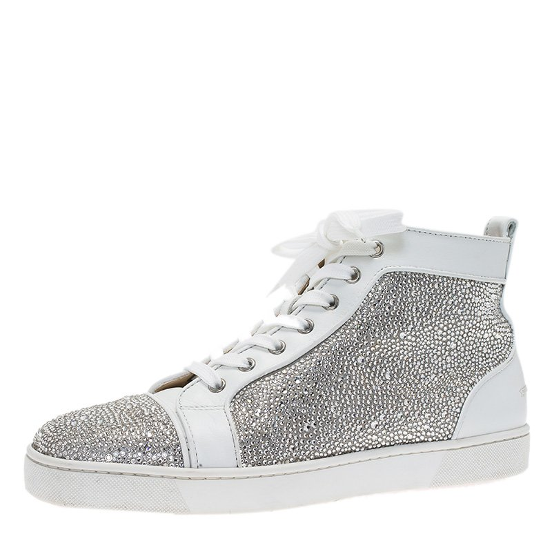Christian Louboutin White Strass Leather Louis High Top Sneakers Size 43