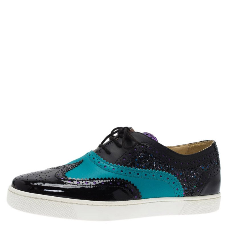 9d447d9e1a4 Christian Louboutin Tricolor Glitter Brogue Leather Golfito Sneakers Size  42.5