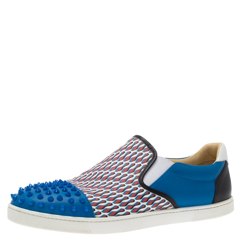 Christian Louboutin Blue Spike Leather and Loubi Print Nazapunta Skate Sneakers Size 42