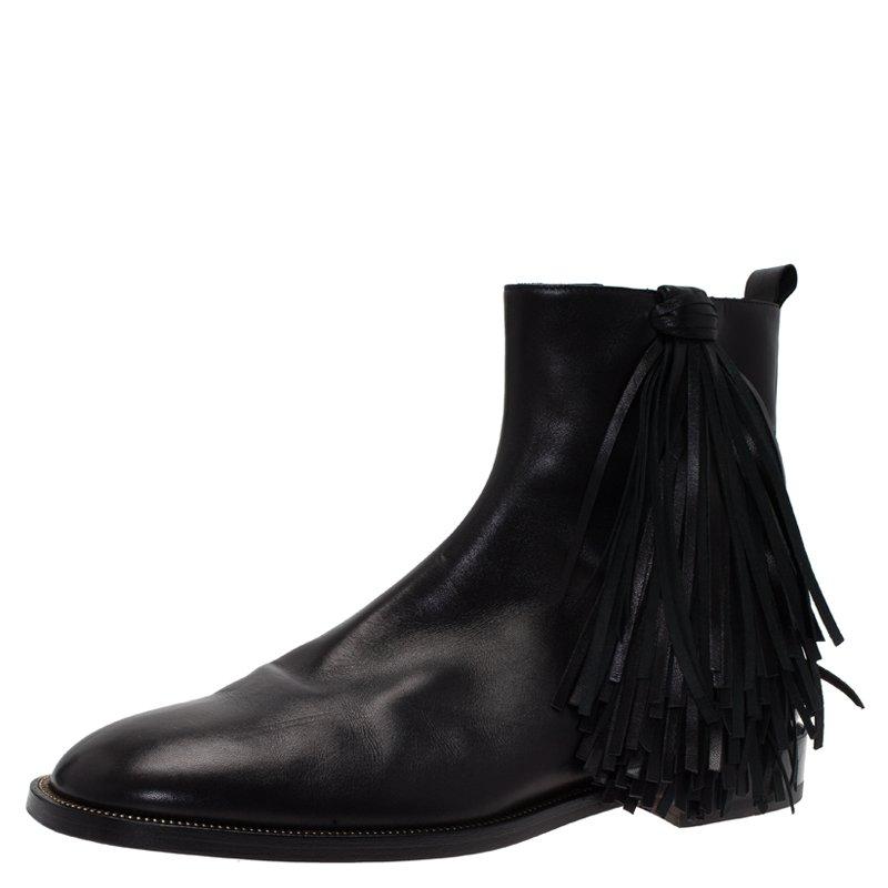 Christian Louboutin Black Leather Fringe Chelsea Boots Size 42