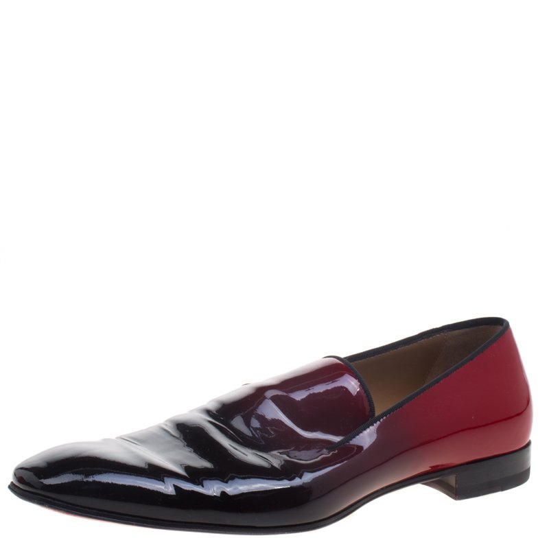 Buy Christian Louboutin Red Ombre Patent Leather Dandelion Loafers ... dcd07a45b7