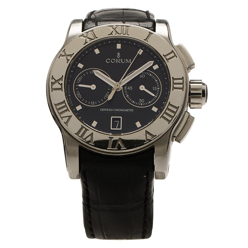 Corum Black Stainless Steel Romulus Men's Wristwatch 42MM