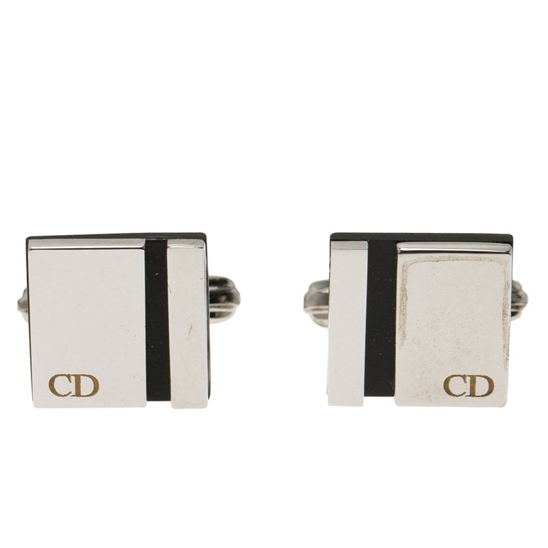Dior Silver and Black Stainless Steel Cassic Cufflinks