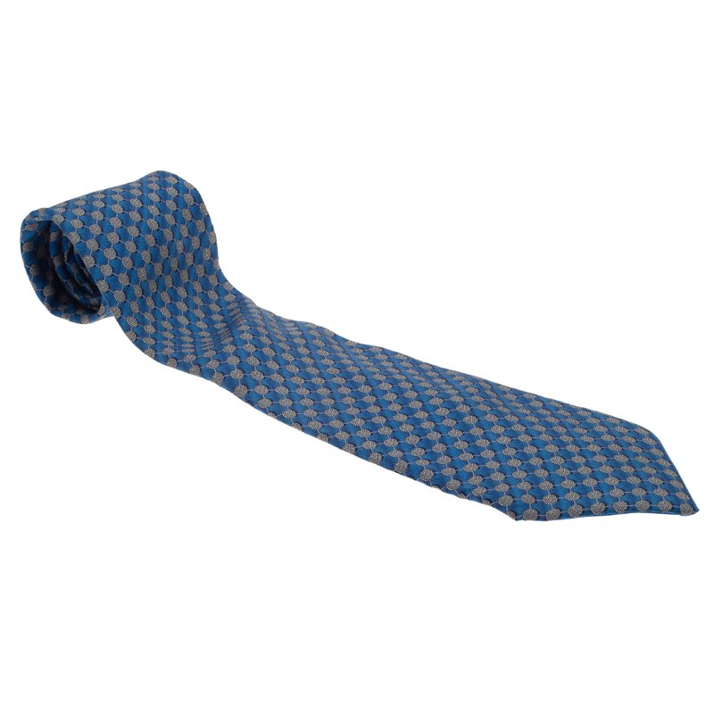 Dior Light Blue and Grey Polka Dot Silk Tie
