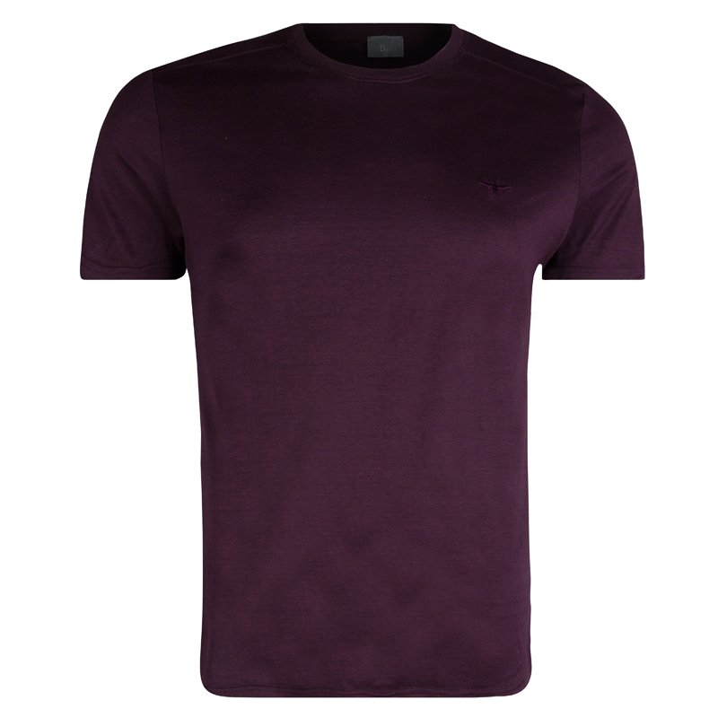 Dior Burgundy Crew Neck T-Shirt M