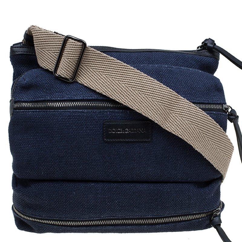 d1e6355721 ... Dolce and Gabbana Navy Blue Canvas Messenger Bag. nextprev. prevnext