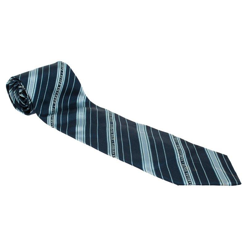 eca362ee662e ... Dolce and Gabbana Navy Blue Logo Silk Striped Tie. nextprev. prevnext