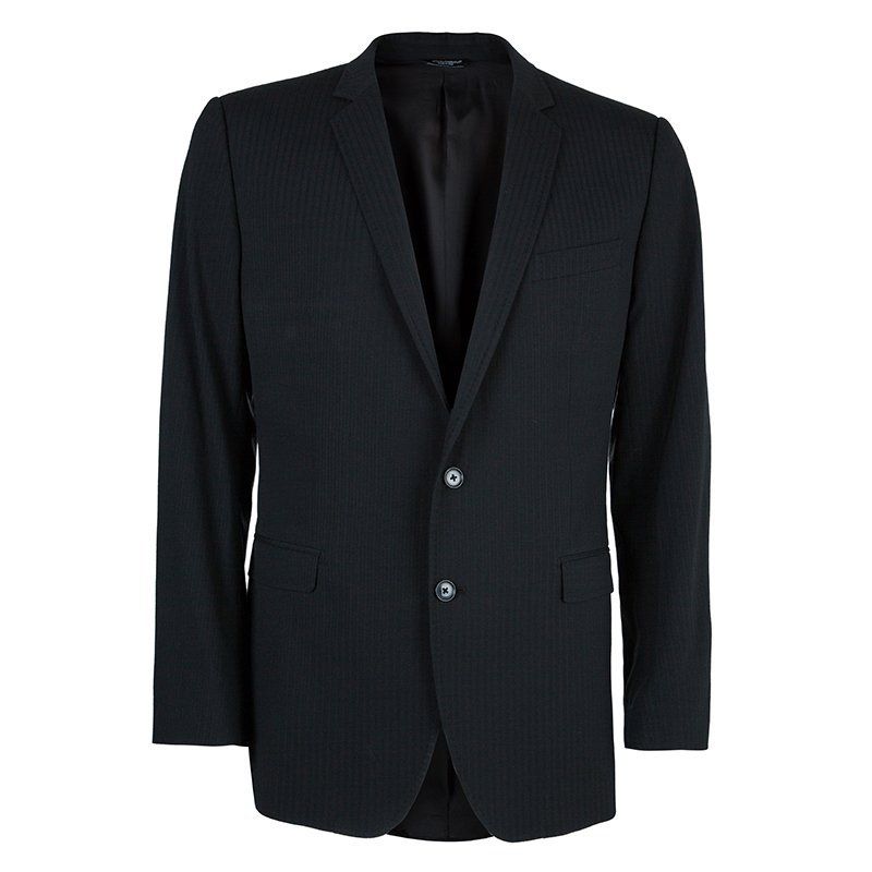 Dolce and Gabbana Men's Charcoal Pinstripe Blazer L