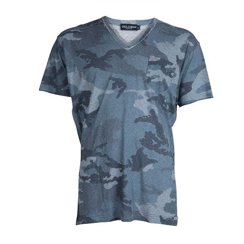 5c3837ac Buy Dolce and Gabbana Blue Camouflage Print V-Neck T-shirt XL 71482 ...