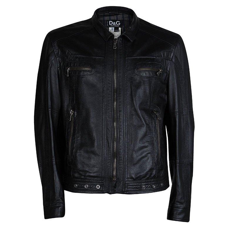 bc4c7a1ba D&G Black Leather Jacket XS