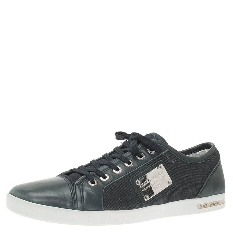 004b447d692 Buy Dolce and Gabbana Blue Leather and Denim Logo Plaque Sneakers ...