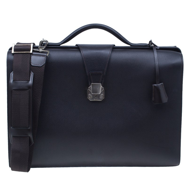 Dunhill Chocolate Brown Leather Doctor Messenger Bag
