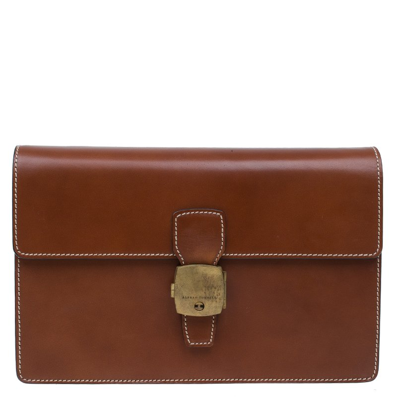 677828e81e Buy Dunhill Brown Leather Vintage Clutch Bag 60573 at best price