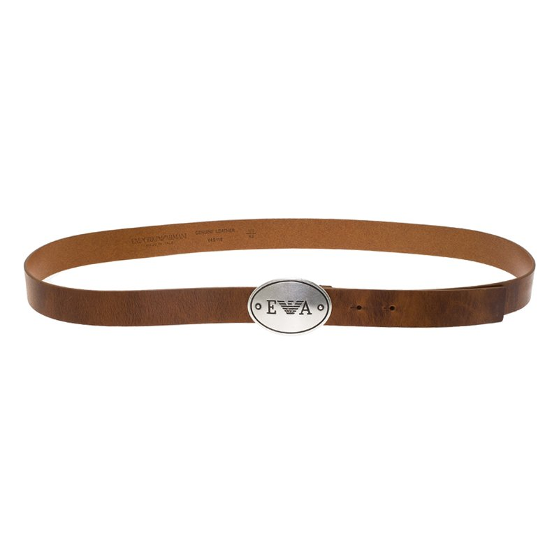 cf771cf94c Emporio Armani Brown Leather Logo Plaque Belt 105CM