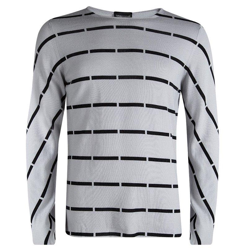 cec4f9472e81c6 Buy Emporio Armani Grey Wool Striped Sweater XL 87610 at best price ...