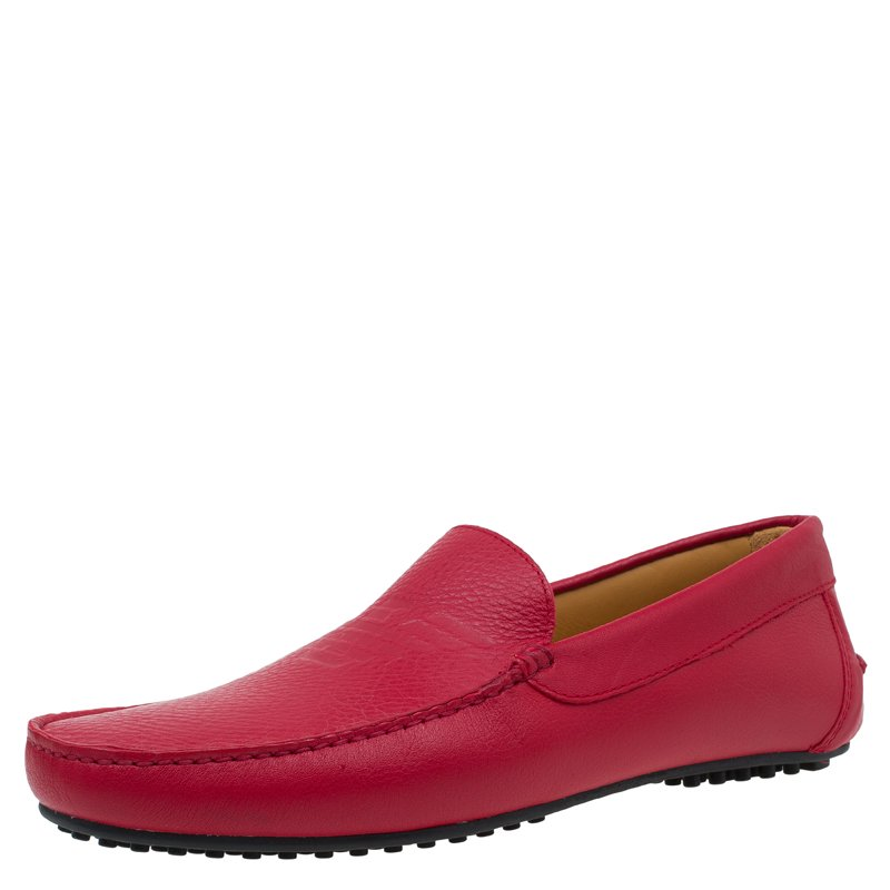 Emporio Armani Red Leather Logo Embossed Loafers Size 43.5
