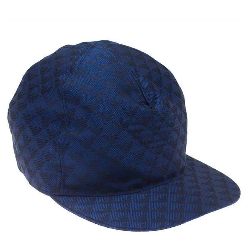 Emporio Armani Blue Monogram Baseball Cap Size L