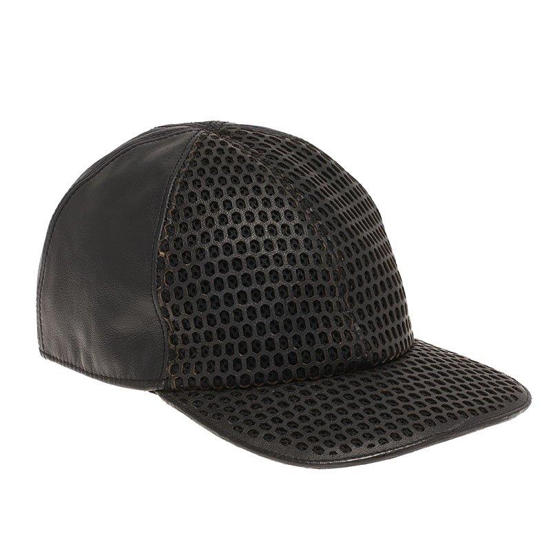 952dea1a ... Emporio Armani Black Perforated Leather Baseball Cap L. nextprev.  prevnext