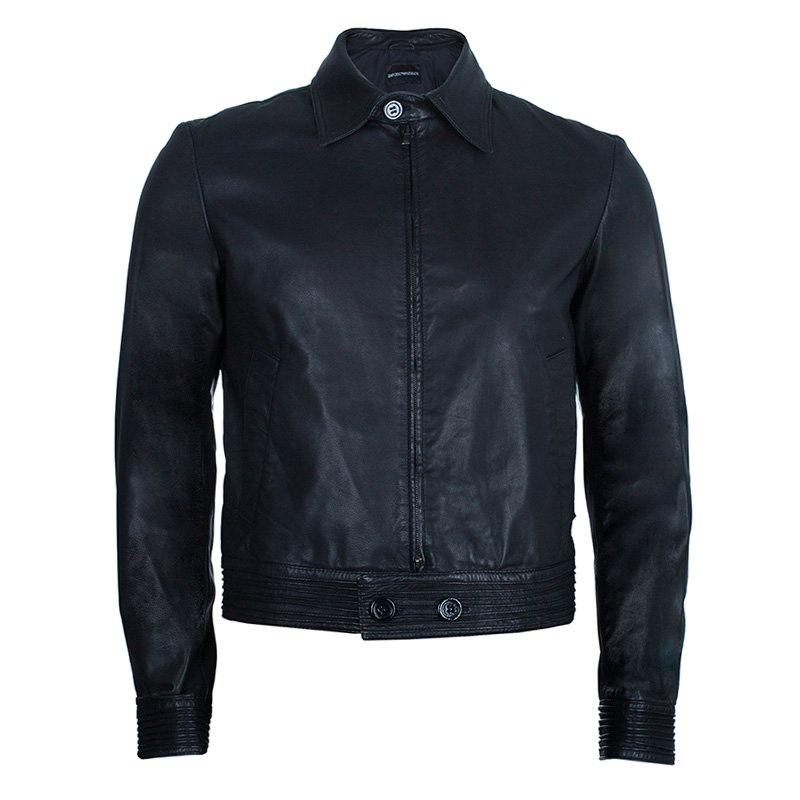 c9c066c08e Emporio Armani Men's Black Leather Bomber Jacket M