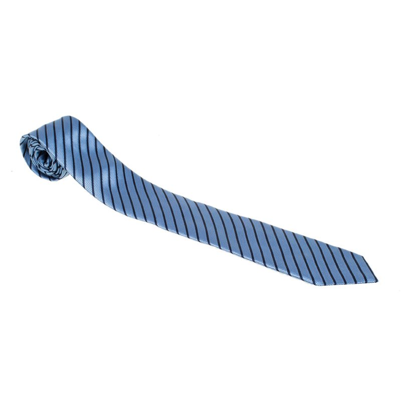 1e941beb59 Ermenegildo Zegna Light Blue & Navy Blue Textured Striped Silk Tie