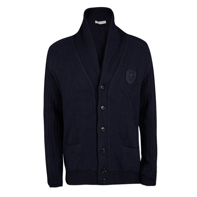 1ab1269d Ermenegildo Zegna Navy Blue Wool and Cashmere Button Front Cardigan 3XL