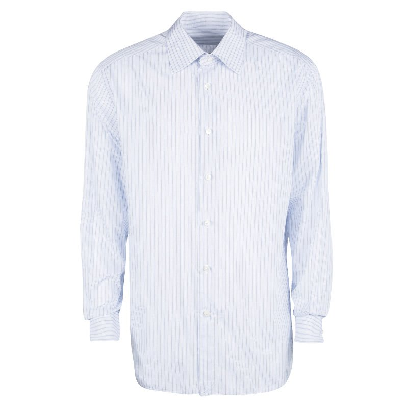 176ca455b3 Ermenegildo Zegna Blue and White Striped Cotton Long Sleeve Shirt 3XL