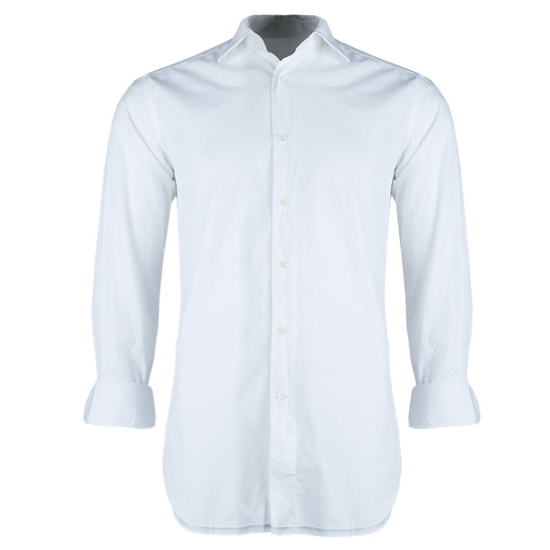 Ermenegildo Zegna White Long Sleeve Buttondown Cotton Shirt S