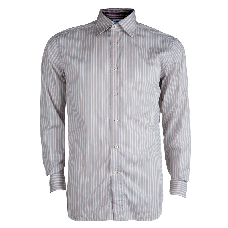 e02650e0 Ermenegildo Zegna Brown Striped Cotton Regular Fit Shirt M