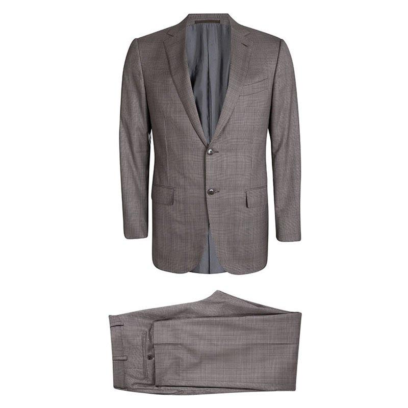 Ermenegildo Zegna Trofeo 600 Brown Wool Tartan Plaid Pant Suit L