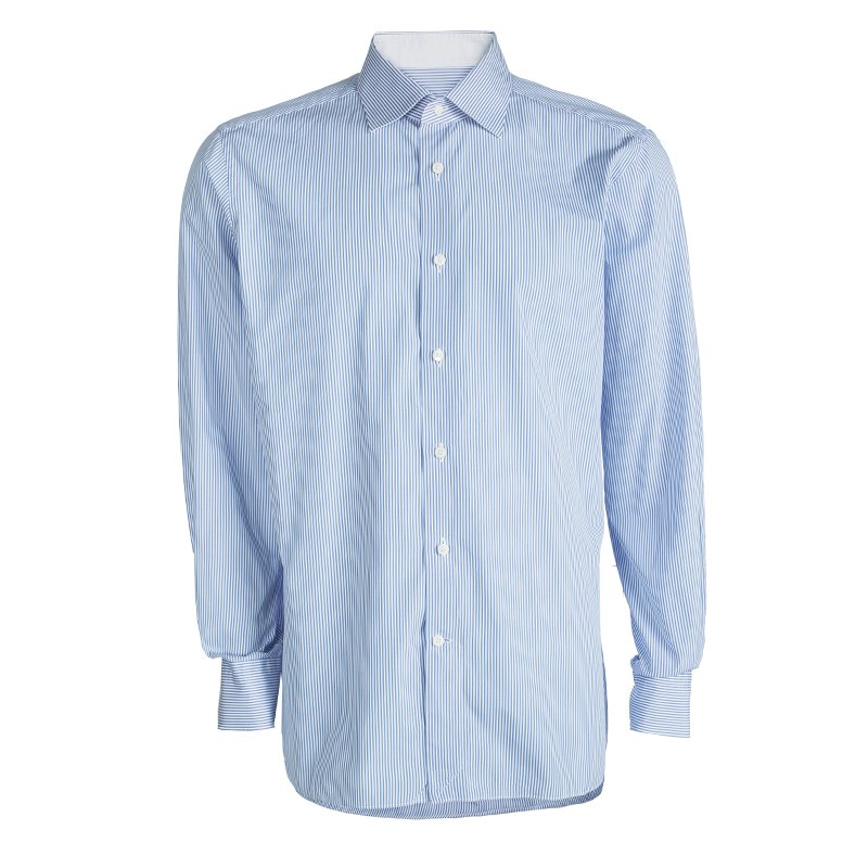 4e0eeccf Ermenegildo Zegna Blue and White Striped Cotton Slim Fit Shirt 4XL