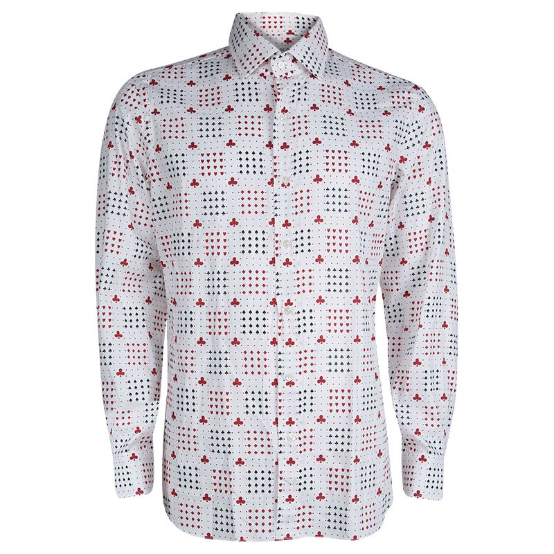 d703b0a7bff7a Buy Etro White Deck Of Cards Print Long Sleeve Button Front Shirt L ...
