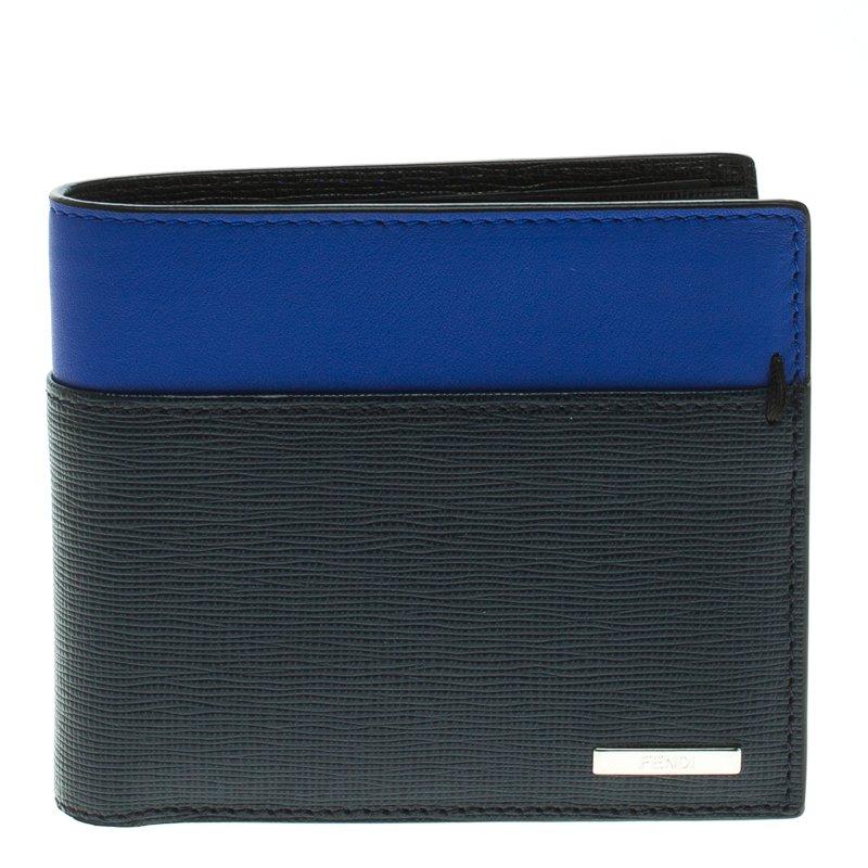 acfe001eeb Fendi Black/Blue Leather Bi Fold Wallet