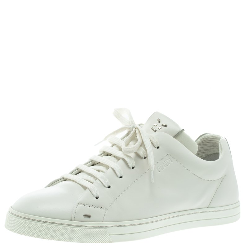 5df9a7fd5e Fendi White Leather Classic Lace Up Sneakers Size 40