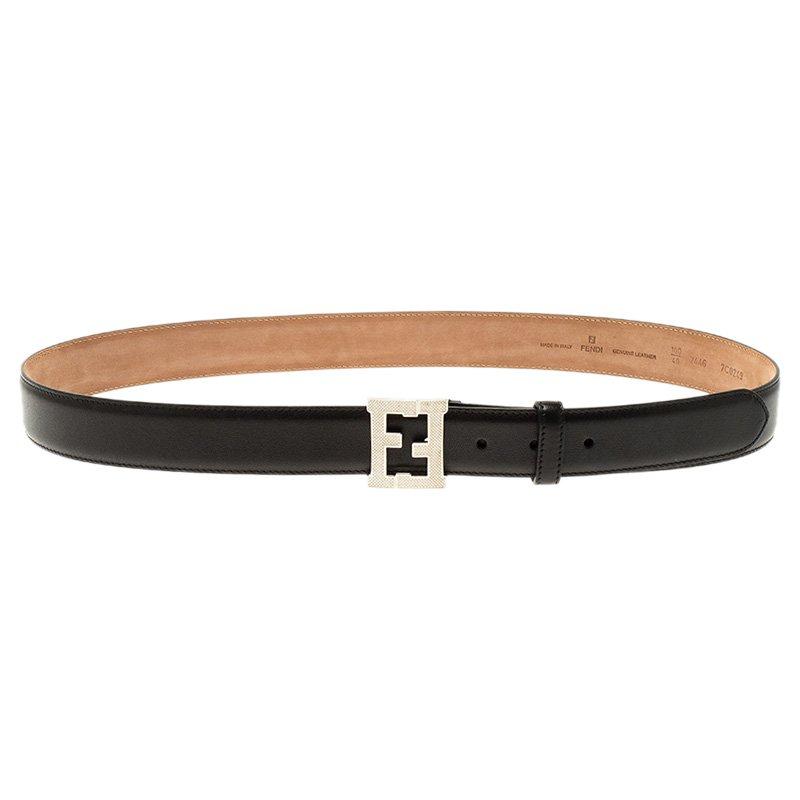 a7e26436 Fendi Black Leather FF Logo Belt 100CM