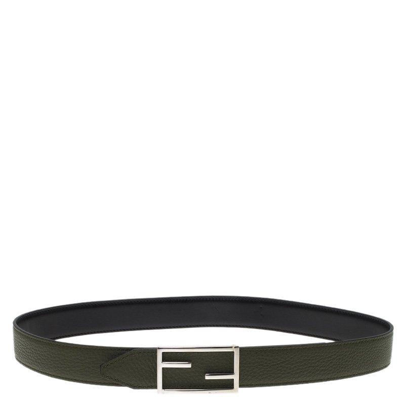 2a61911471 Fendi Green and Black Leather Logo Buckle Reversible Belt 90CM