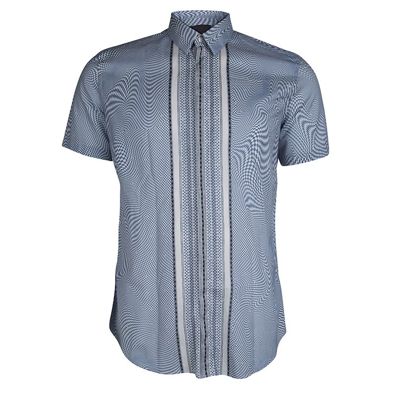 a8e70ad0 Buy Fendi Blue and White Optical Illusion Print Short Sleeve Shirt L ...