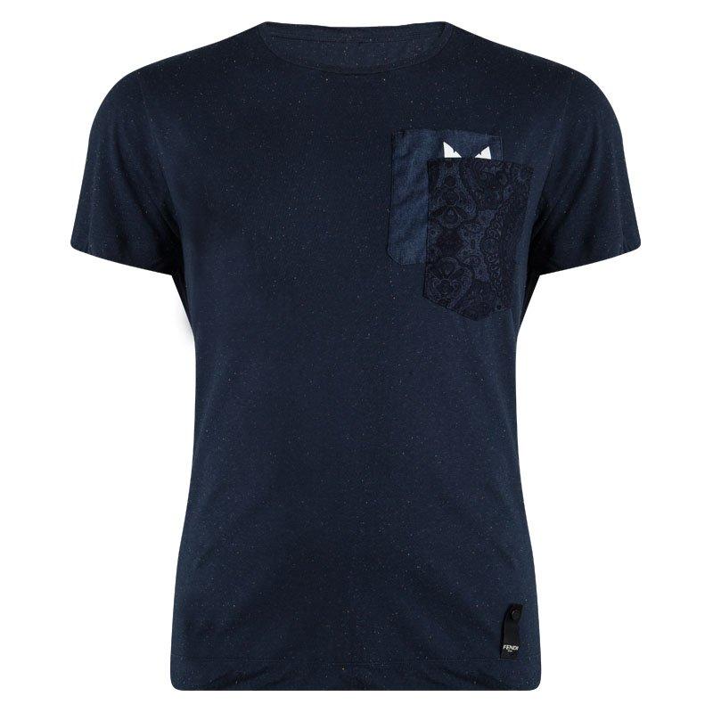037c234f6 Buy Fendi Blue Slub Jersey Monster Eye Detail Crew Neck T-Shirt 3XL ...