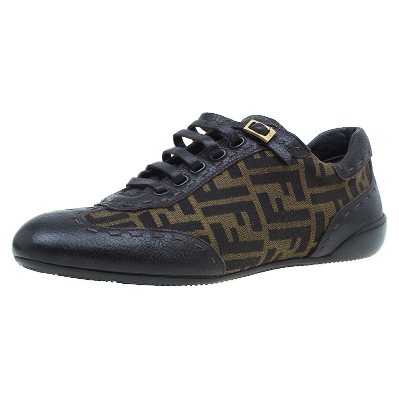 Fendi Tobacco Zucca Canvas and Leather Trim Lace Up Sneakers Size 42
