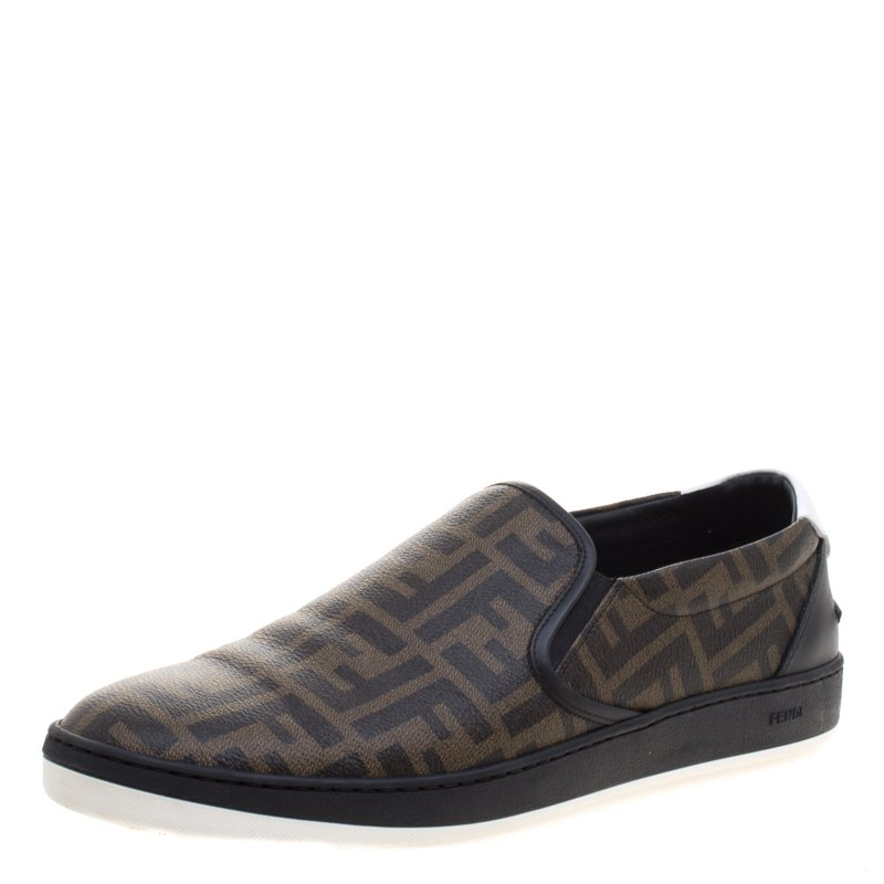 Fendi Brown Zucca Coated Canvas Slip On Sneakers Size 45