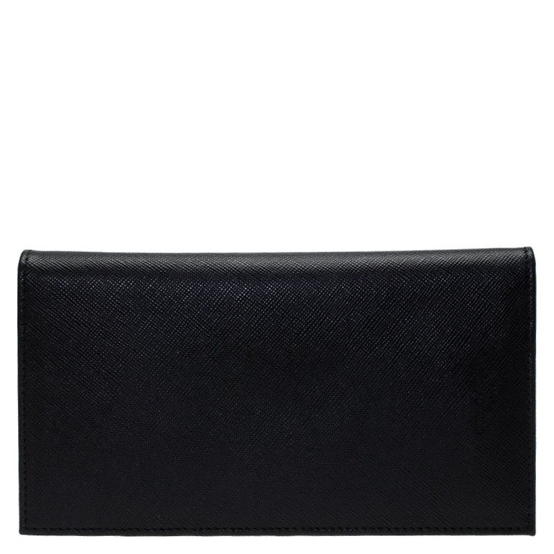 e322d3bcc9 Giorgio Armani Black Textured Leather Bifold Long Wallet