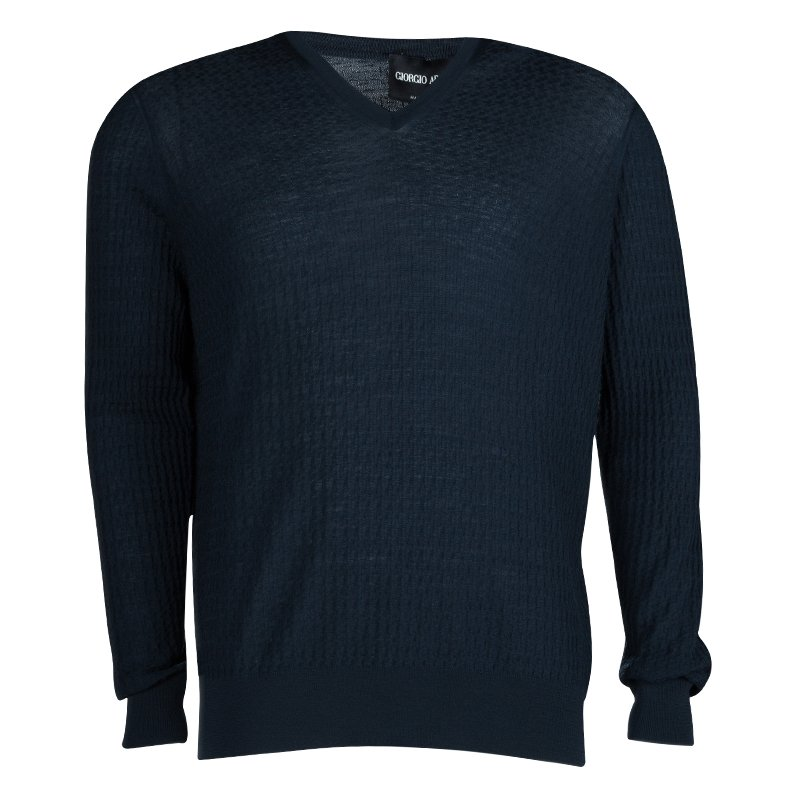 Giorgio Armani Navy Blue Jaquard Knit V-Neck Sweater XL