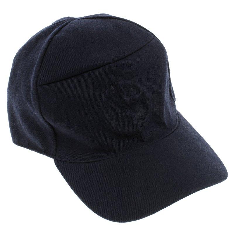 7426b3606a6 Buy Giorgio Armani Navy Blue Embossed Logo Detail Baseball Cap L ...