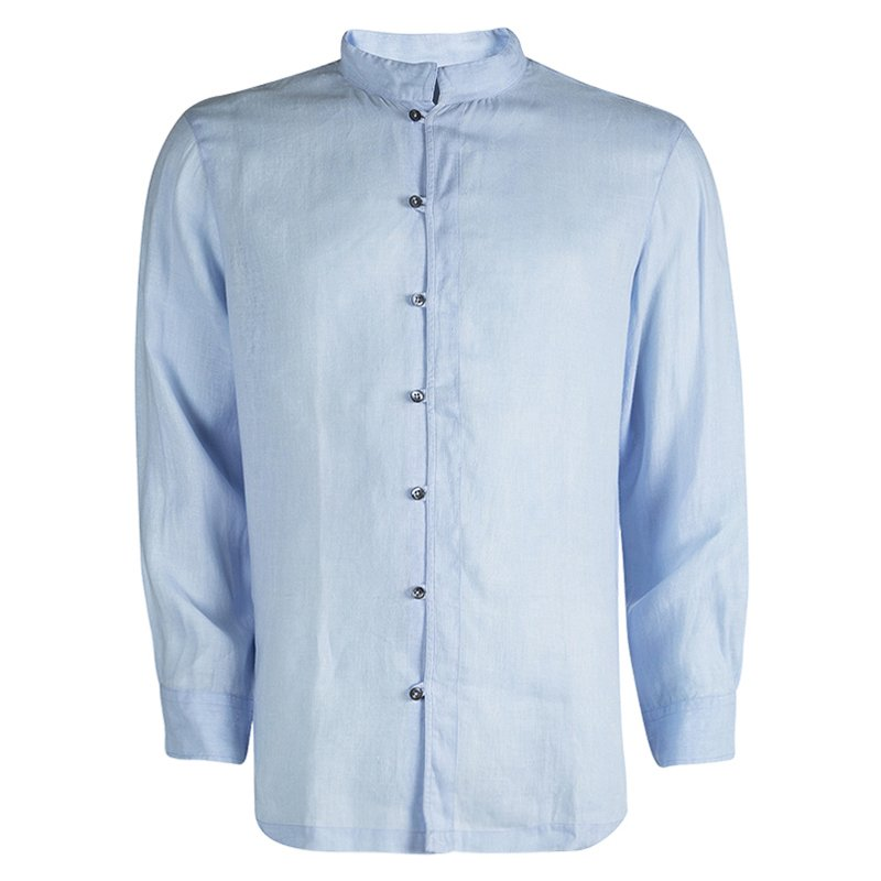 new images of order online sneakers for cheap Giorgio Armani Powder Blue Linen Mandarin Collar Shirt XL