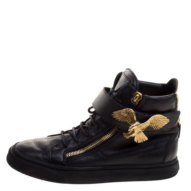 Giuseppe Zanotti Black Leather Eagle