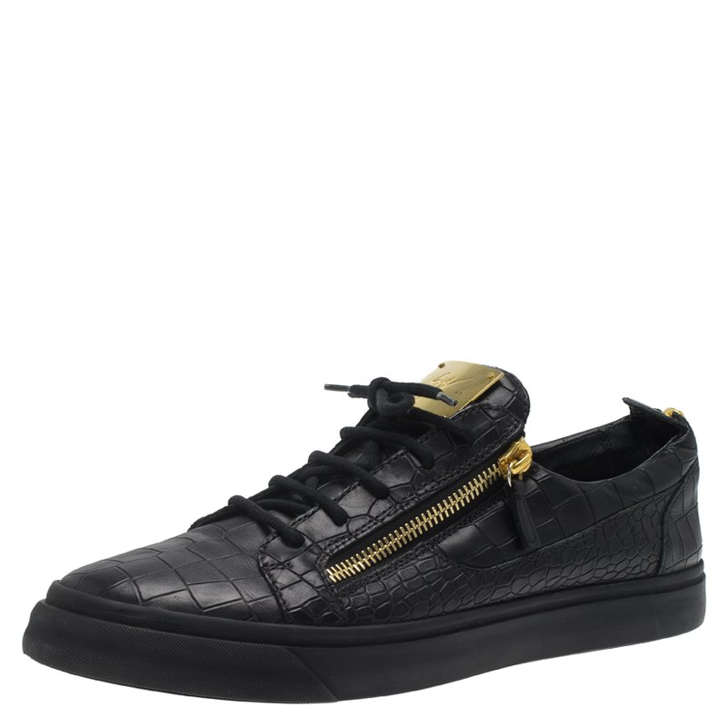 aacaf254539ab ... Giuseppe Zanotti Black Crocodile Embossed Leather Frankie Sneakers Size  45. nextprev. prevnext