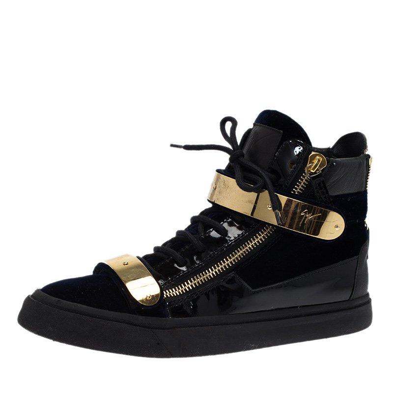 4435b3dc70be ... Giuseppe Zanotti Navy Blue Velvet and Black Leather Coby High Top  Sneakers Size 43. nextprev. prevnext