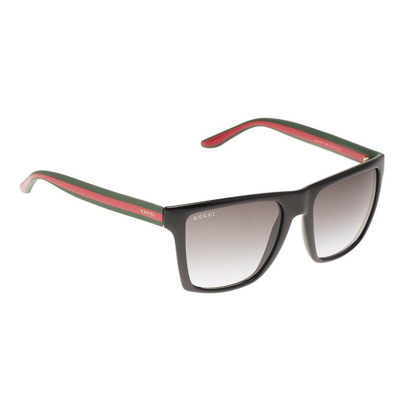 8da1ccb39e2 Buy Gucci Black GG 3535 S Web Rectangle Sunglasses 88806 at best ...