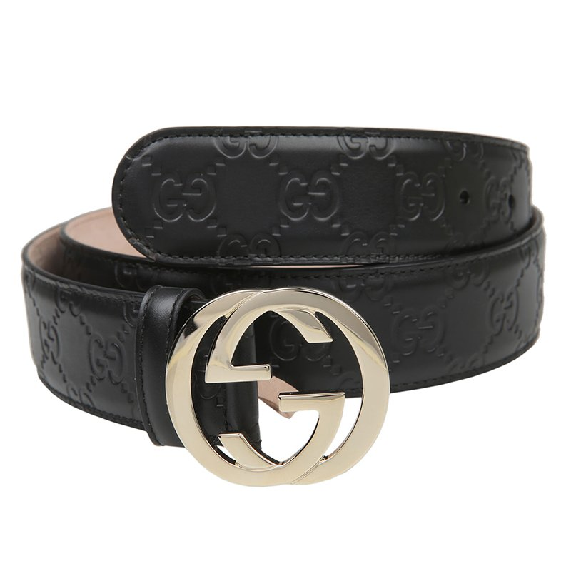 c4a299060d Gucci Black Guccissima Leather Interlocking GG Buckle Belt 105CM